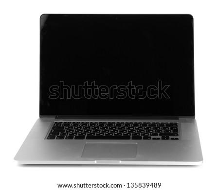 White laptop isolated on white - stock photo