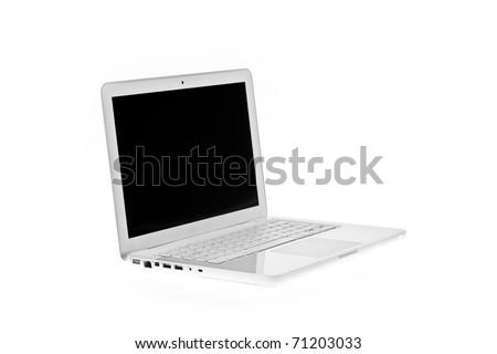 White laptop isolated on white background - stock photo