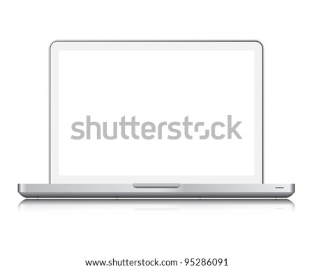 White laptop isolated on white,screen clipping paths included - stock photo