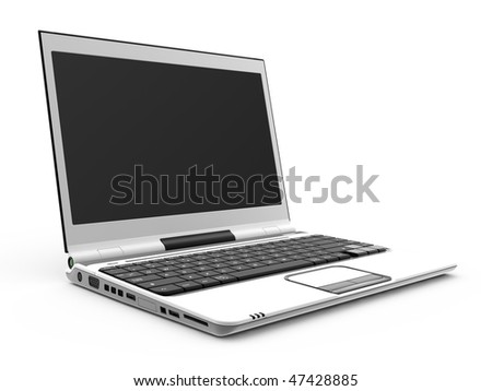 White laptop on white background