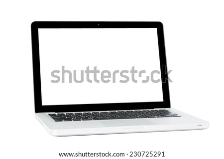 White Laptop with blank screen isolated on over white background - stock photo