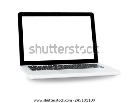 White Laptop with blank screen on gray background - stock photo