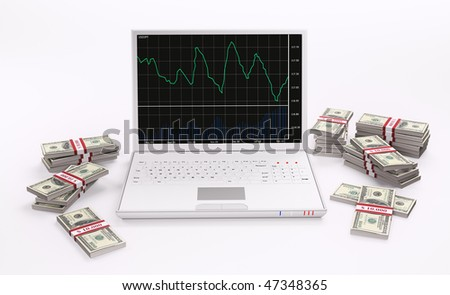 White Laptop with forex charts on the screen and stacks of dollars 3d - stock photo