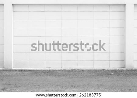 white large concrete block wall background - stock photo