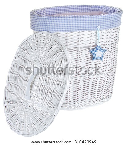 white laundry basket with a lidIsolated on white background