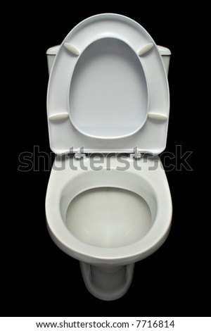white lavatory pan isolated on black background