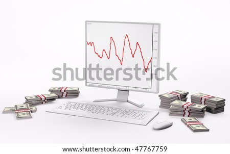 White LCD with forex charts,keyboard,mouse and stacks of dollars 3d - stock photo