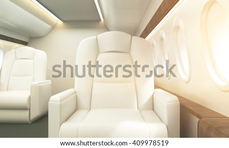 White leather armchair in aircraft interior. Private jet concept. Toned image. 3D Rendering - stock photo