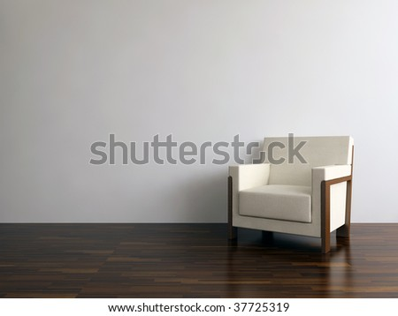 White leather armchair to face a blank wall - stock photo