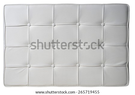 White Leather Barcelona Chair Texture Background isolated on White Background. Top View of a Classic Design Surface. Text Space - stock photo