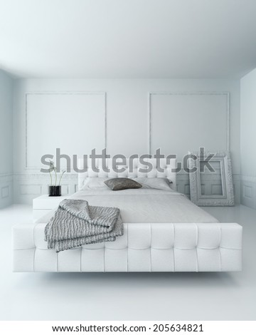 White leather bed in a white luxury paneled bedroom interior - stock photo
