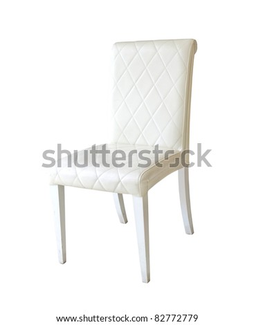 white leather chair isolated on the white background