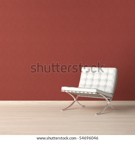 White leather chair on a red wall with copy-scape on the top left corner - stock photo