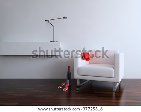 White leather Chair with Lamp to face a blank wall - stock photo