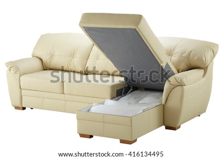 White leather corner couch bed with storage isolated on white include clipping path - stock photo
