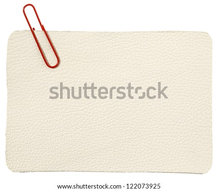 White leather label with red staple - stock photo