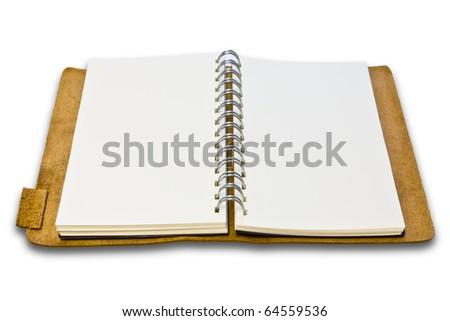 white leather notebook on white background - stock photo