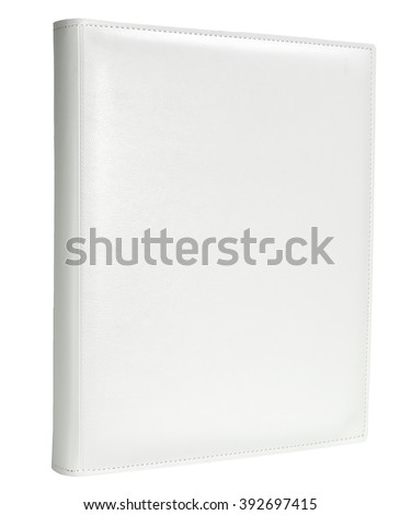 White leather photo album cover isolated white background