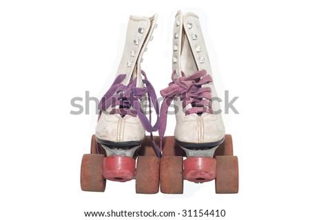 White leather retro roller skates isolated against white background - stock photo