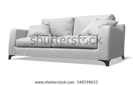 white leather sofa on white background 3D illustration