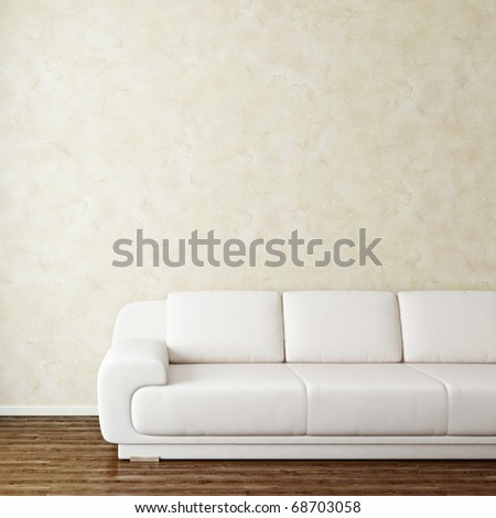 White leather sofa square background