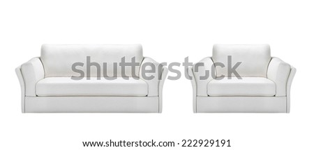 white leather sofa with armchair - stock photo