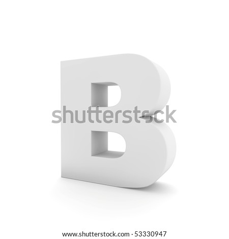 white letter B isolated on white - stock photo