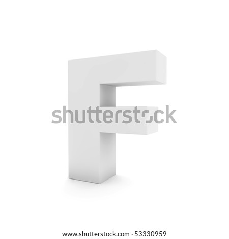 white letter F isolated on white - stock photo