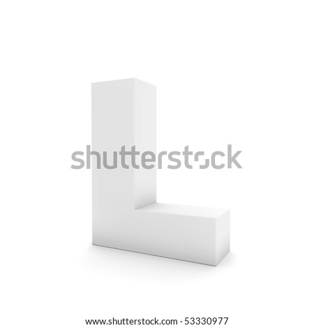 white letter L isolated on white - stock photo