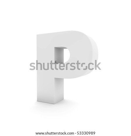 white letter P isolated on white - stock photo