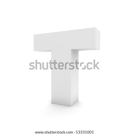 white letter T isolated on white - stock photo