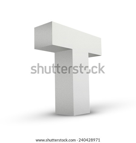 white letter T isolated on white background