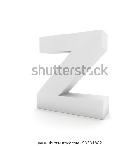 white letter Z isolated on white - stock photo