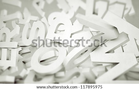 white letters isolated on white background - stock photo
