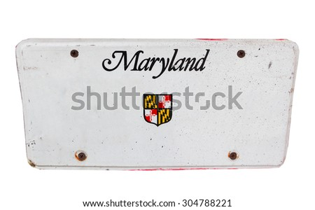 White license plate of Maryland, America on isolated white background. - stock photo
