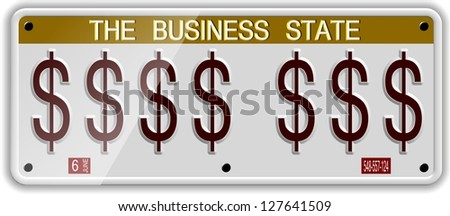 White license plates with dollar symbols on it / Dollar license plates - stock photo