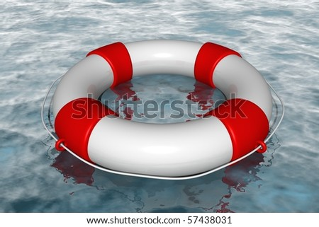 White life buoy in the water