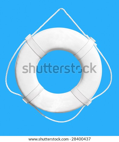 White Life Buoy isolated over blue background. Clipping path. - stock photo