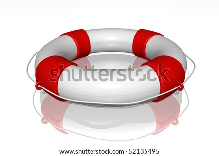 White life buoy with rope isolated - stock photo