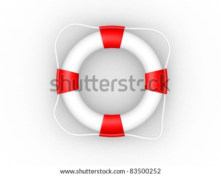 White life buoy with rope isolated - this is a 3d render illustration