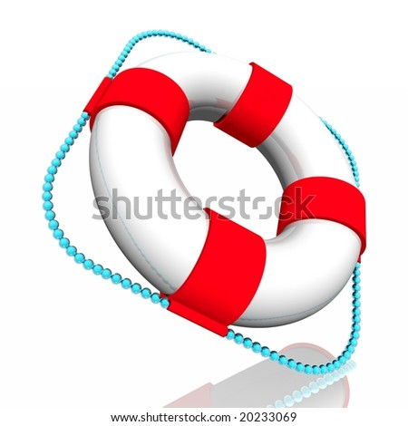 White lifebuoy ring with red strips, with a blue cord