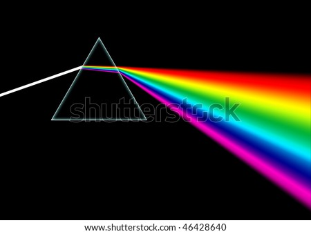 White light beam shines through a prism and then disperses the light into an entire rainbow color spectrum. - stock photo