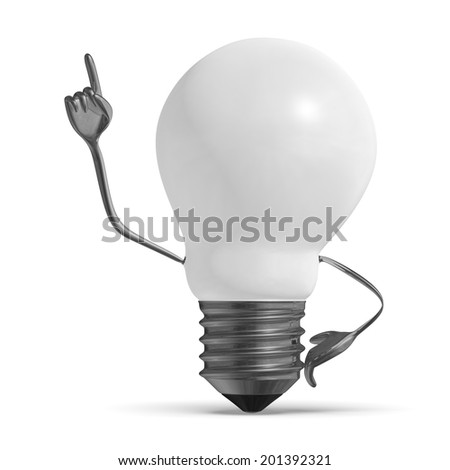 White light bulb character in moment of insight isolated - stock photo