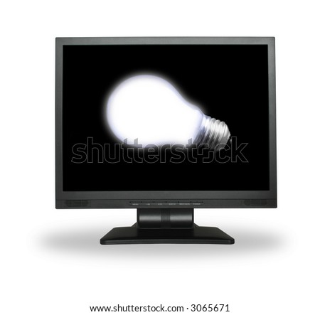 white light bulb in lcd screen isolated on white - stock photo