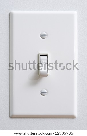 "White light switch in ""OFF"" position - stock photo"