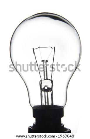 White lightbulb on a white background - stock photo