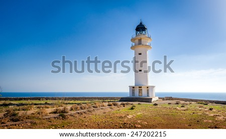 White lighthouse at Formentera island. Spain Balearic islands