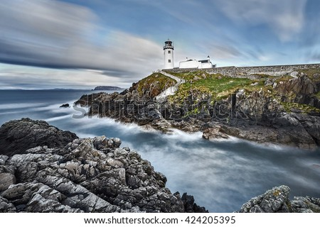 White Lighthouse, Fanad Head, County Donegal, North Ireland - stock photo