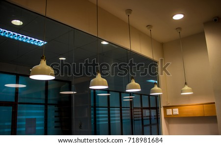 White Lighting Fixture Lamps Hanging On Stock Photo (Royalty Free ...
