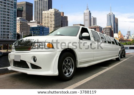 White limousine on the waterfront